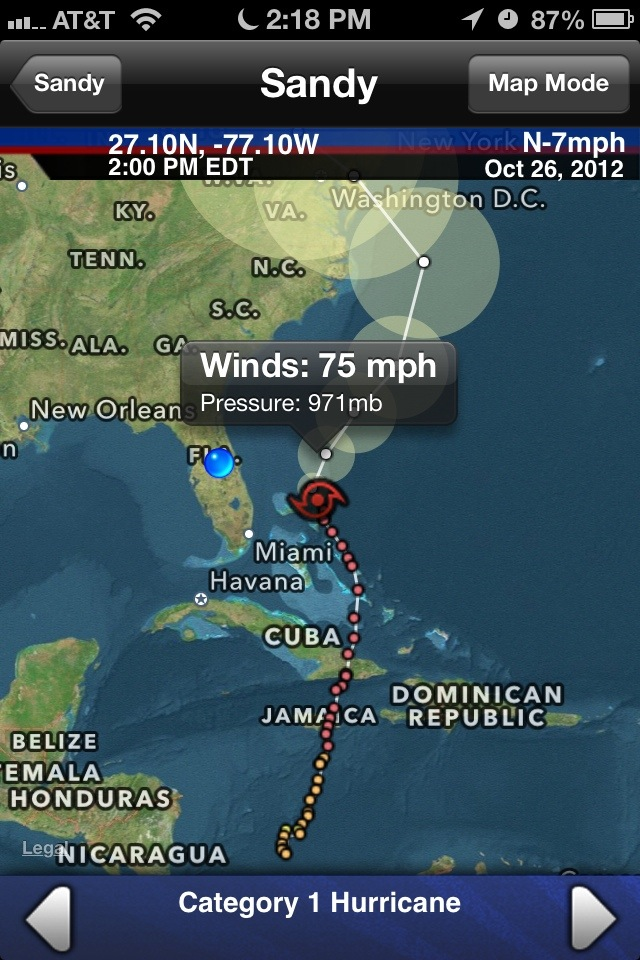 Hurricane app screen shot