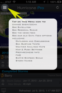 Tap on the menu icon at the top left to get to all of our data feed options