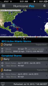 Hurricane Pro's storm list page is changing in 4.2. The information is larger, and tapping on the storm name will take you to our Storm Info page. But if you like that new menu, just swipe across the details and you'll get the quick menu!